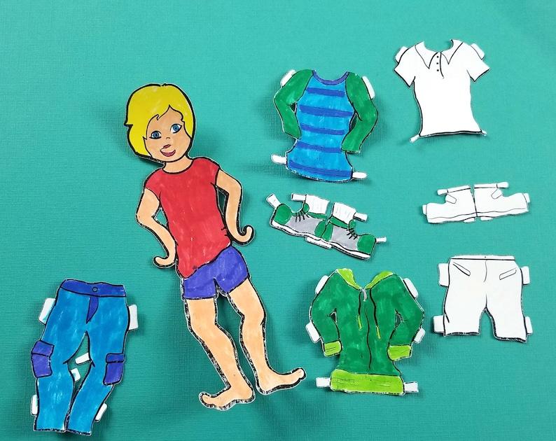 Printable Paper Dolls  Spring Boy  Spring Paper Craft image 0