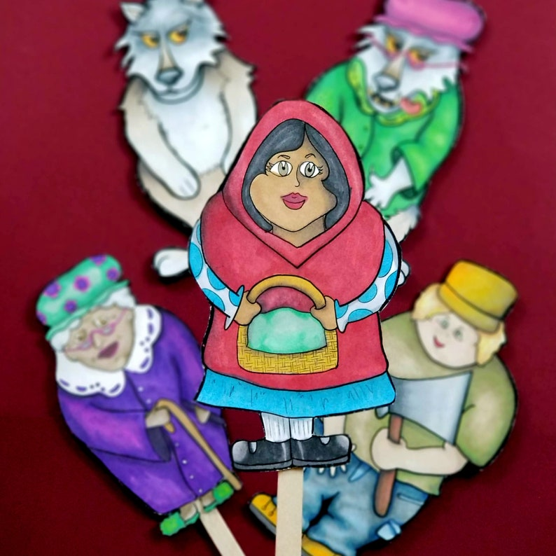 Little Red Riding Hood Puppets  FULL COLOR printable paper image 0