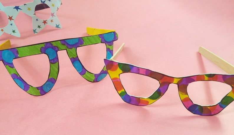 Kid/'s Craft Template Paper Toy Craft Paper Glasses Coloring Page