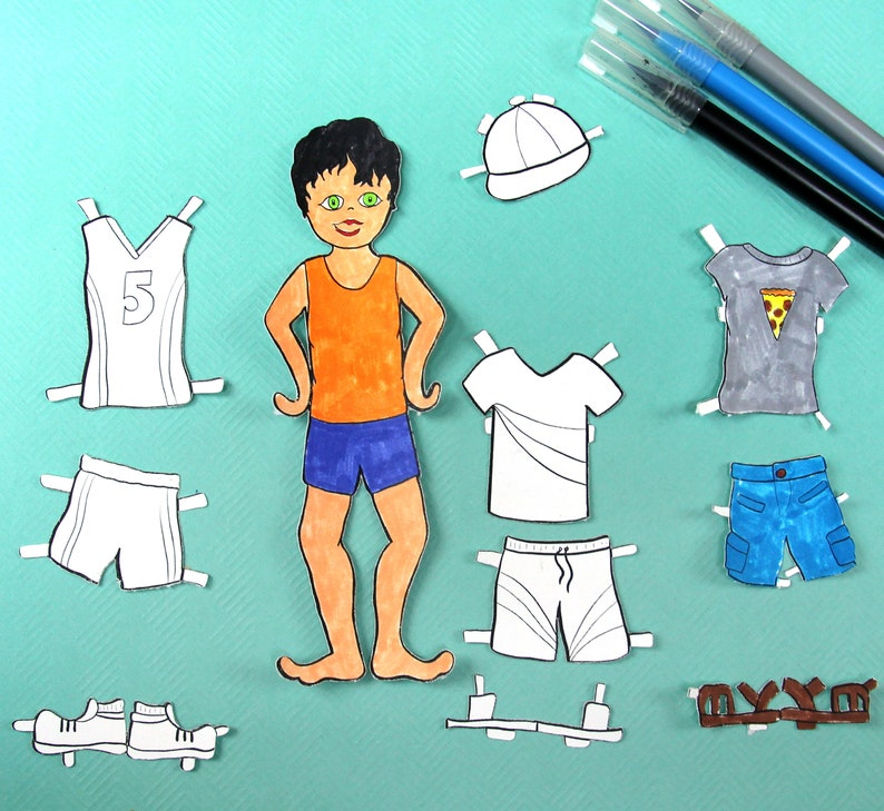 Printable Paper Dolls  Summer Boy  Summer Paper Craft image 0