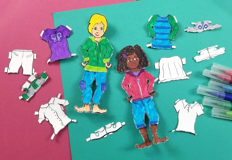 Printable Paper Dolls for Boys & Girls  Spring Dress Up Paper image 0