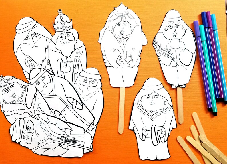 photo regarding Bible Character Puppets Printable called Shavuot Coloring Puppets - Ruth and Naomi Adhere Puppets - Ebook of Ruth Bible Puppets Craft and coloring webpages