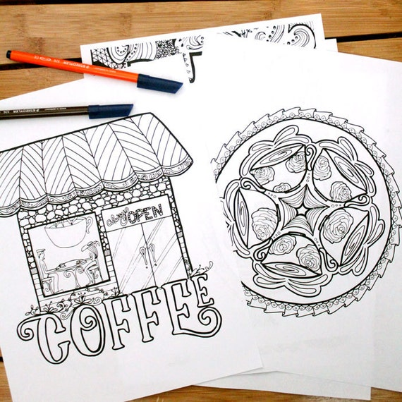 Adult Coloring Pages 5 Printable Detailed Coffee Colouring Sheets For Grown Ups Digital Download