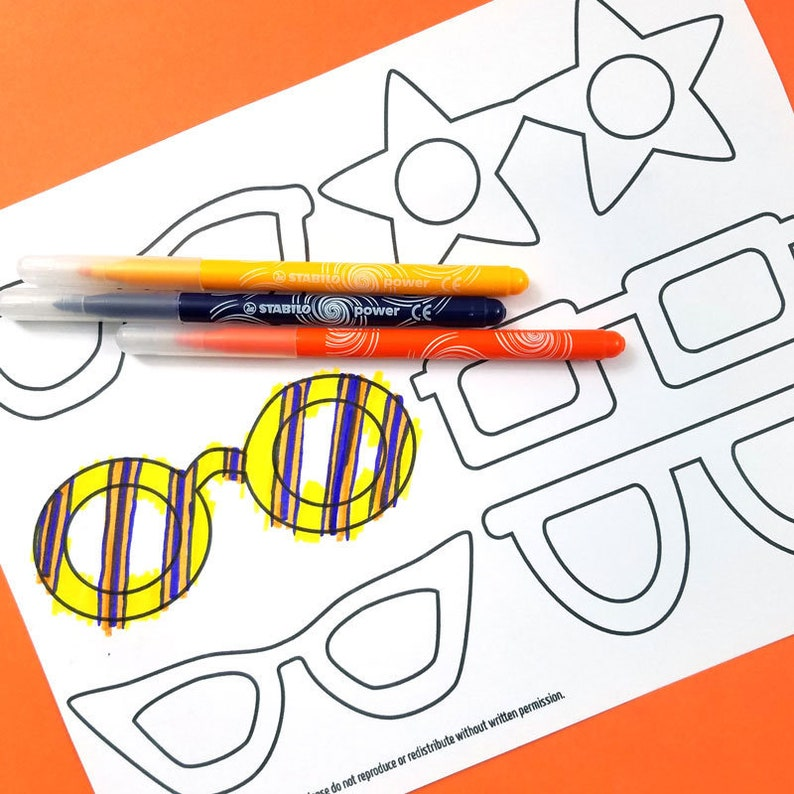 Paper Glasses Coloring Page  Kid's Craft Template  Paper image 0