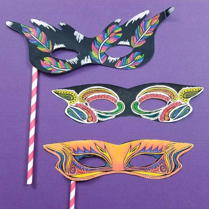 Mardi Gras Masks  Printable PDF Color-in Masks Paper Craft image 0
