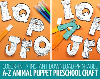 Alphabet Crafts for Toddlers and Preschool - Puppets Coloring Pages and Paper Toy Templates - Printable Alphabet Animals ABC -