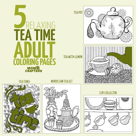 Adult Coloring Pages 5 Unique Printable Detailed Coloring Pages For Adults Tea Time Colouring Sheets For Grown Ups Digital Download By Moms Crafters Catch My Party
