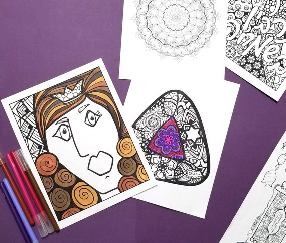 Purim Coloring Pages For Adults Printable Jewish Holiday Etsy