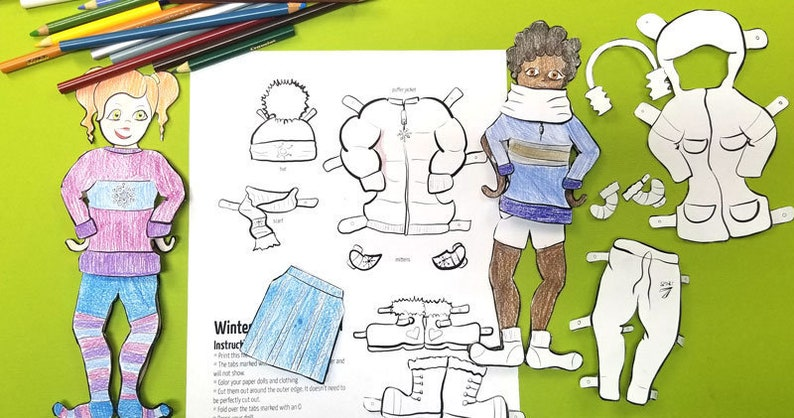 Printable Paper Dolls DUO boy and girl Winter Coloring Pages image 0