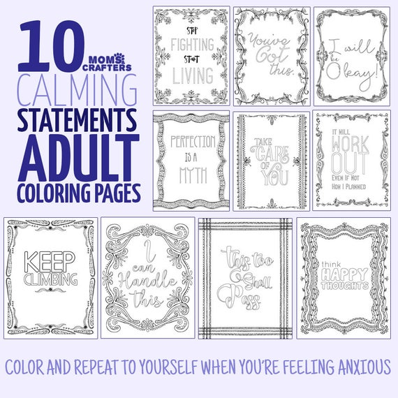 - 10 Detailed Coloring Pages Printable Motivating Adult Etsy