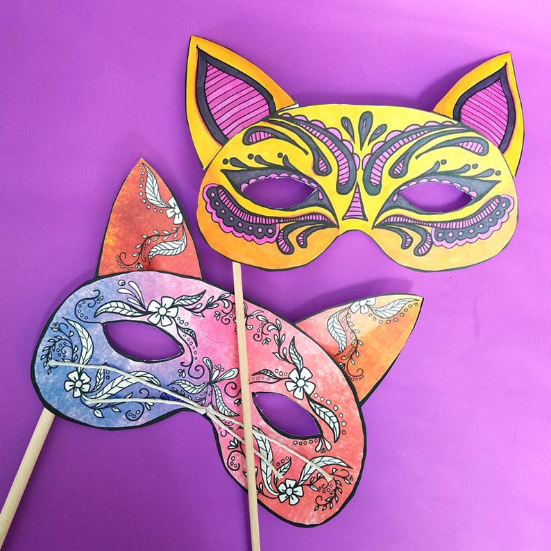 Color-in Cat Masks  Printable Adult and Kid Coloring Pages image 0