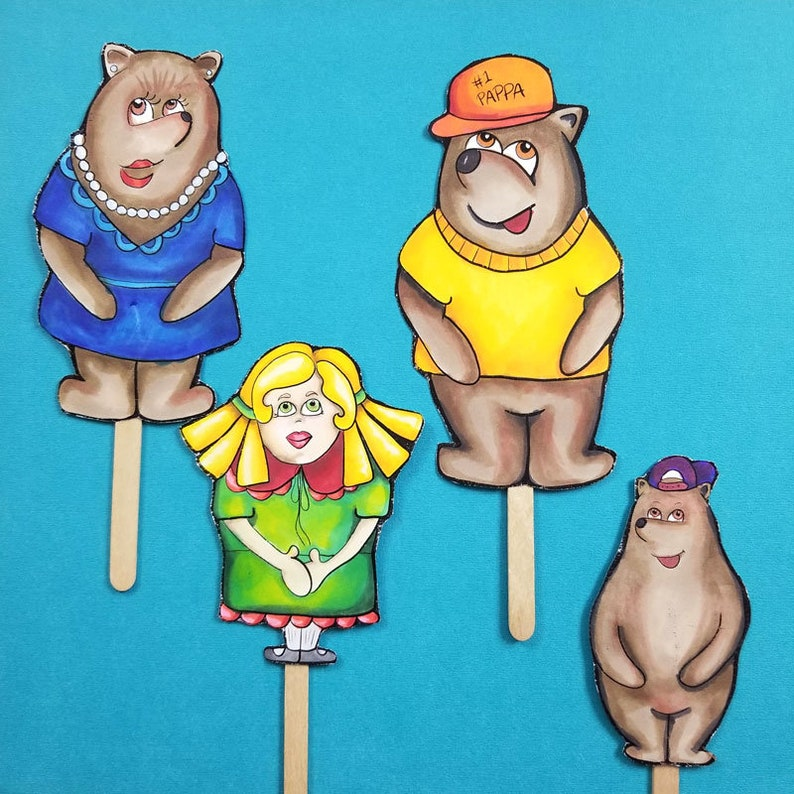 Goldilocks and the Three Bears Puppets  FULL COLOR printable image 0