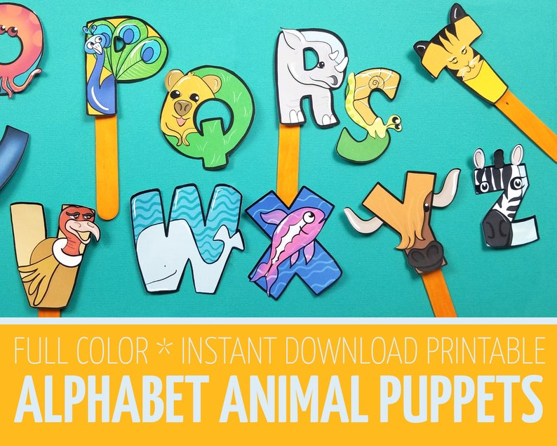 Alphabet Puppets Paper Toy Template  Printable Animal ABC  image 0