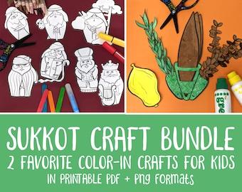 Sukkot Crafts Coloring Pages Bundle   LULAV and Etrog Set plus Ushpizin Puppets for Kids   Jewish Sukkos High Holiday Paper Craft Templates