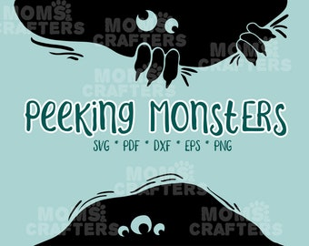 Peeking Monster SVG - Halloween Cricut Silhouette Cut Files - DXF PDF Png Eps - Limited Commercial Use for Backpacks, Machine decals