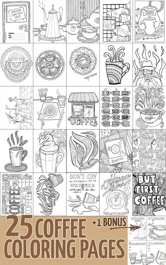 Adult Coloring Pages Pdf Ebook 25 Coffee Colouring Pages Etsy
