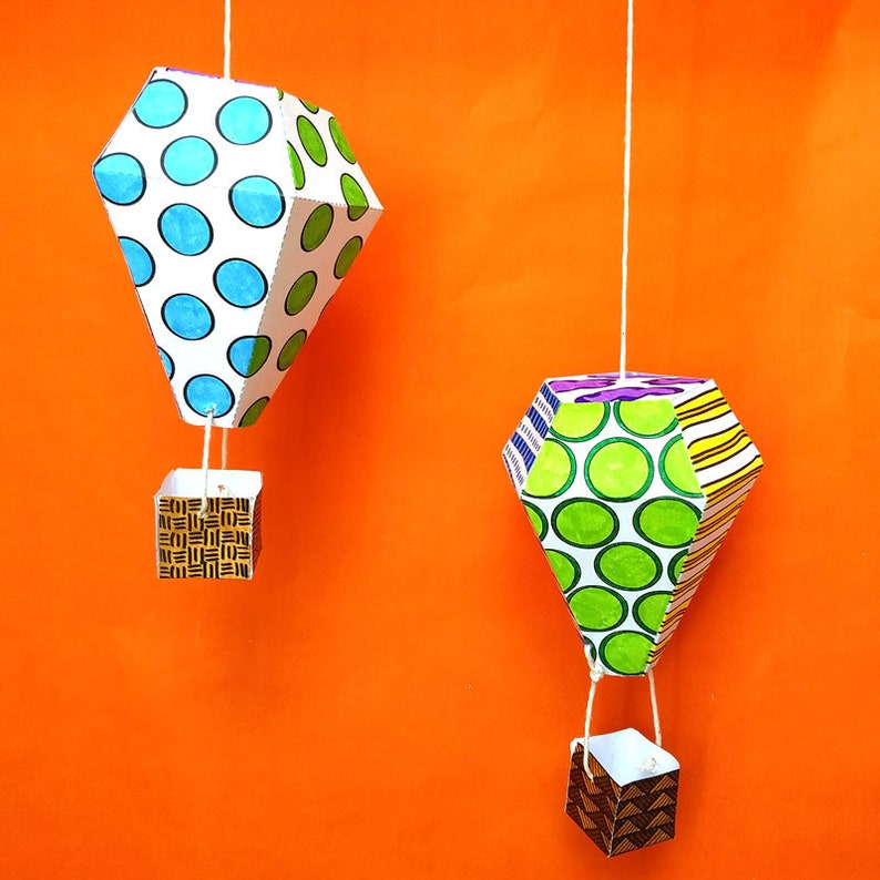 Paper Hot Air Balloons  Coloring Pages  Color-in Paper Craft image 0