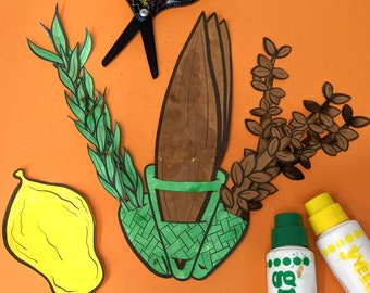Sukkot Printable Paper Craft for Kids     Lulav and Etrog   Jewish Sukkos High Holiday Paper Toy Template for Toddler Preschool