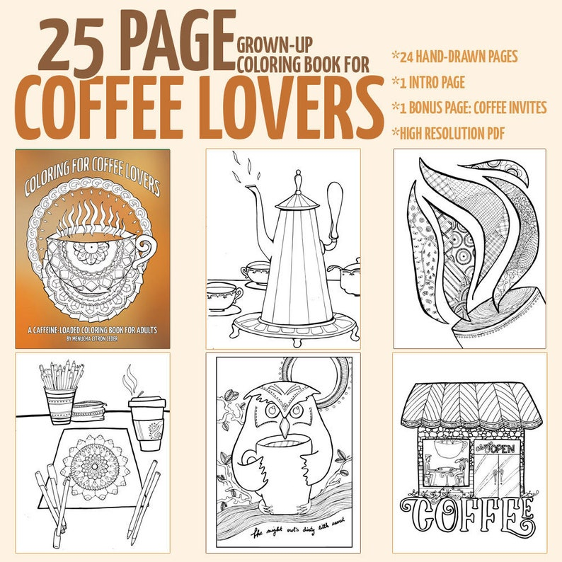 Adult Coloring Pages  PDF eBook  25 Coffee Colouring Pages image 0