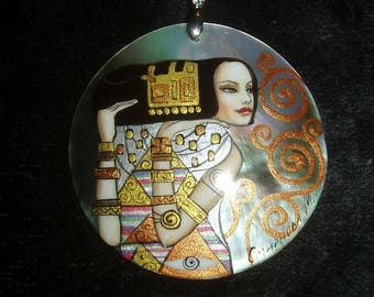 Handpainted mother of pearl Necklace Expectation by G.Klimt ART DECO pendant