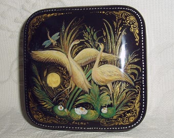 "Russian small Lacquer box Hand Painted Palekh "" Cranes "" miniature"