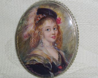 "Lacquer brooch Mother of pearl ""Lovely Flemish girl"" miniature Hand Painted Pin"