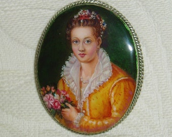 "Beautiful Lacquer brooch Mother of pearl ""Portrait of Venetian girl in yellow"" Hand Painted Pin"