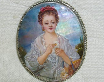 "Beautiful Lacquer brooch Mother of pearl ""Simplicity. Girl with chamomile"" Hand Painted Pin"
