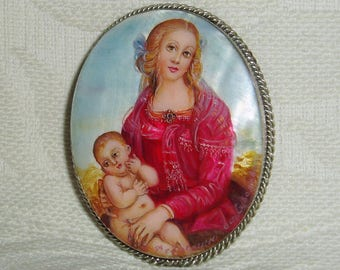 "Beautiful Lacquer brooch Mother of pearl ""Virgin and Child"" Hand Painted Pin"