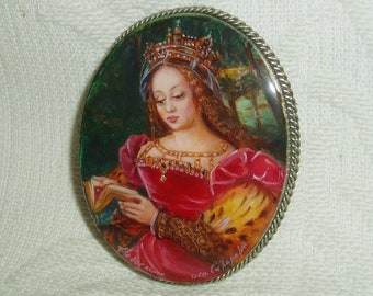 "Beautiful Lacquer brooch Mother of pearl ""Saint Catherine of Alexandria"" Hand Painted Pin"