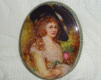 "Beautiful Lacquer brooch Mother of pearl ""Portrait Duchess of Devonshire"" Hand Painted Pin"