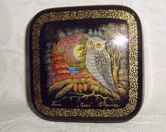 "Russian small Lacquer box Palekh "" Owl "" miniature Hand Painted"