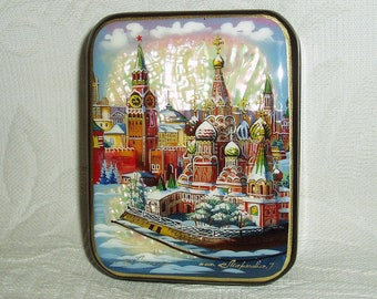 Russian small Lacquer box Moscow Red Square St. Basil's Cathedral Hand Painted