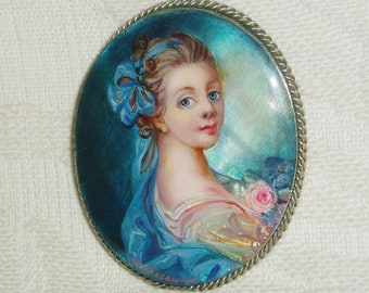 "Lacquer brooch Mother of pearl ""Girl with pink rose"" miniature Hand Painted Pin"