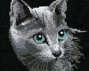 NEW UNOPENED Russian Counted Cross Stitch KIT Riolis 764 Russian Blue Cat