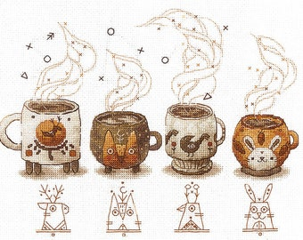 NEW UNOPENED Russian NOT Counted Cross Stitch Kit Matrenin Posad 0029bn Tea Time cake Pot cup Flowers