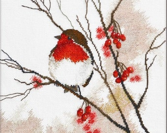 NEW UNOPENED Russian Counted Cross Stitch Kit OVEN 928 Robin Birds