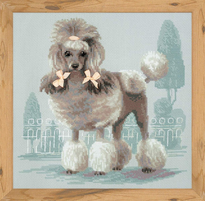 NEW UNOPENED Russian Counted Cross Stitch KIT Riolis 1635 Poodle Dog