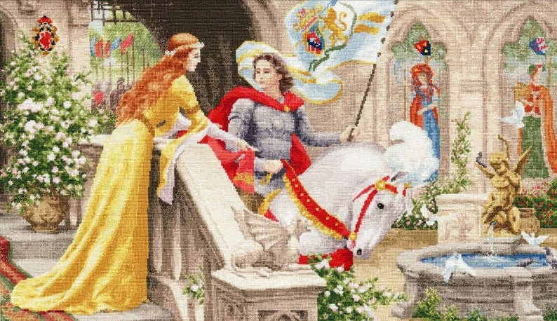 NEW UNOPENED Russian Counted Cross Stitch Kit Golden Fleece CHM-068 Knight in shining armour
