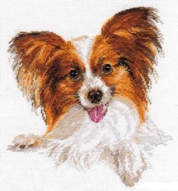 Papillon Dog Portrait Counted Cross Stitch Pattern