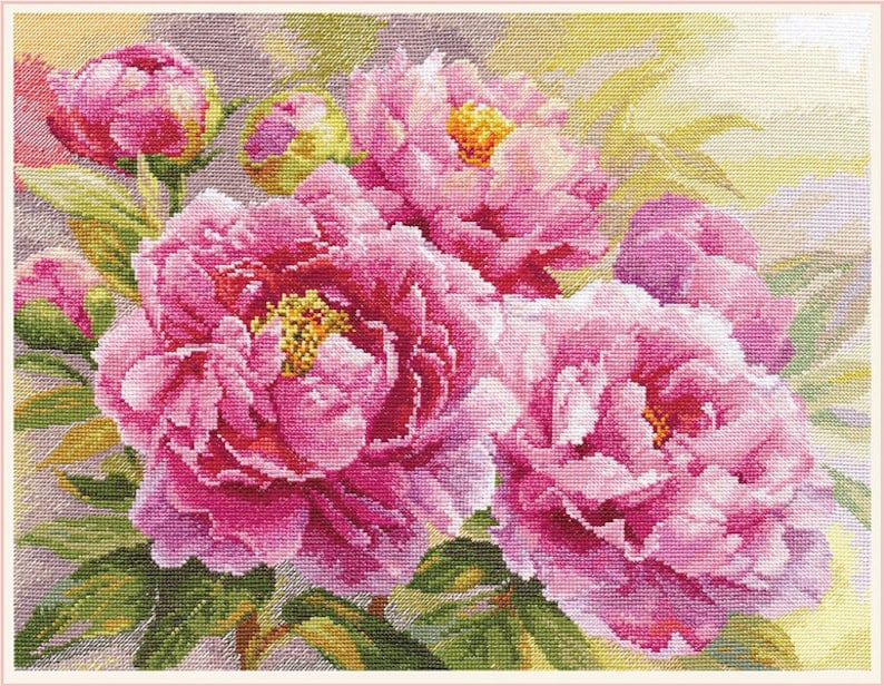 NEW UNOPENED Russian Counted Cross Stitch KIT Alisa 2-35 Peonies Flowers