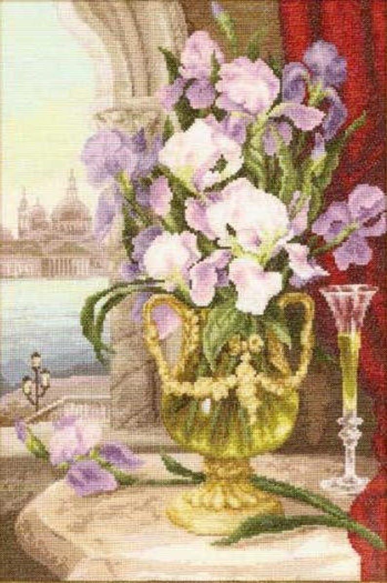 Russian Counted Cross Stitch Kit Sonata Of Petersburg Golden Fleece # LC-026 Flowers Iris