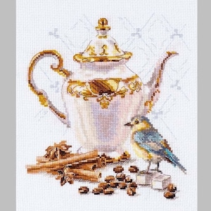 NEW UNOPENED Russian Counted Cross Stitch KIT Alisa 5-13 The afternoon tea
