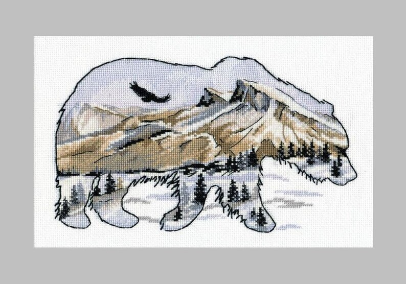 NEW UNOPENED Russian Counted Cross Stitch Kit OVEN 1052 Bear Mountains Eagle