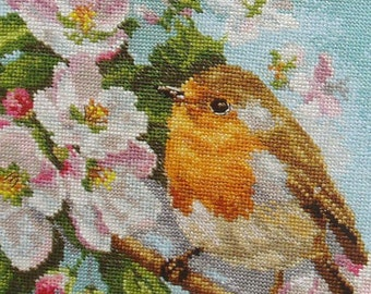 NEW Russian Counted Cross Stitch KIT Alisa 1-20 Robin on blossoming branch