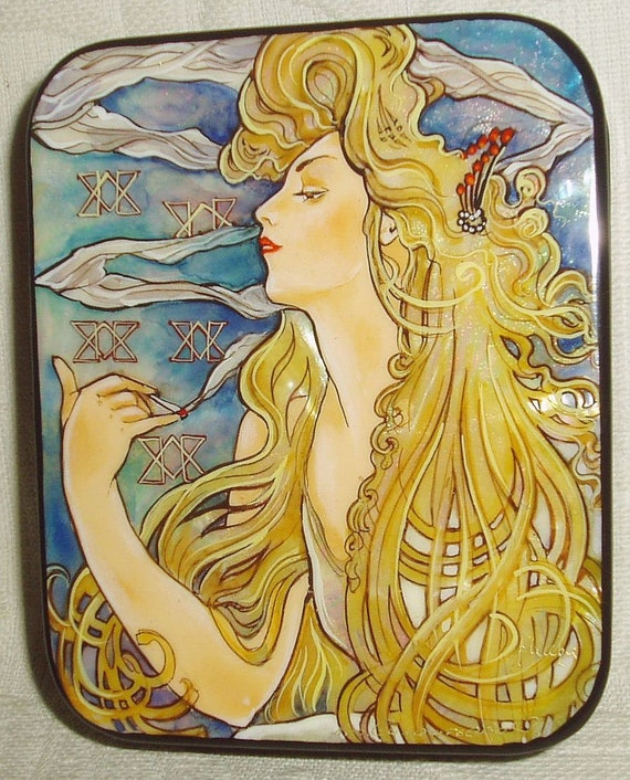 Beautiful Russian Lacquer box Mother of pearl Art Nouveau