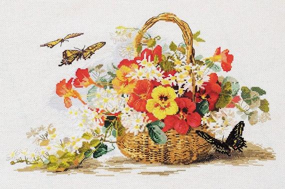 NEW UNOPENED Russian Counted Cross Stitch kit Mary Weaver 06.002.28 Poppies Charm  Summer Flowers