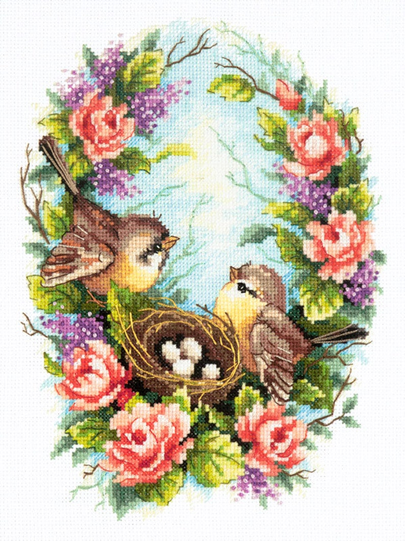 NEW UNOPENED Russian Counted Cross Stitch KIT Magic Needle 64-01 Swans