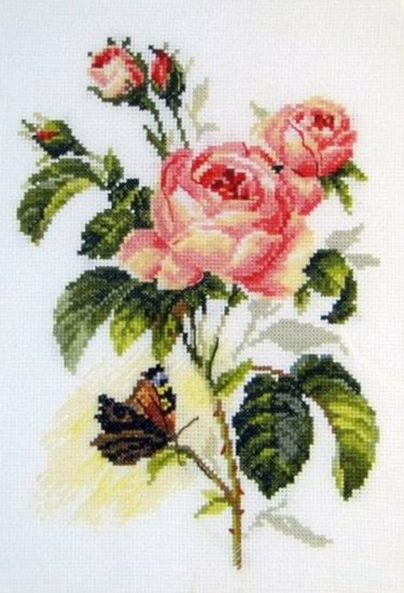Rose and Butterfly Alisa Cross Stitch Kit
