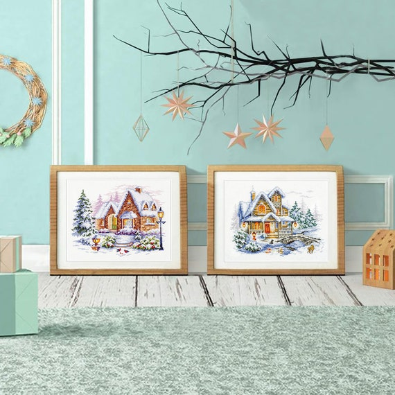 "Cross Stitch Kit MAGIC NEEDLE 110-042 WONDERFUL NEEDLE /""Winter Cottage/"""